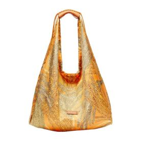 RICE LARGE SILK TWILL HOBO BAG - ORANGE
